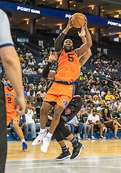 July 6, 2018 - Oakland, CA, U.S. - OAKLAND, CA - JULY 06: Baron Davis (5) co-captain of 3's Company pulls down a rebound ball during game 1 in week three of the BIG3 3-on-3 basketball league on Friday, July 6, 2018 at the Oracle Arena in Oakland, CA  (Photo by Douglas Stringer/Icon Sportswire) (Credit Image: © Douglas Stringer/Icon SMI via ZUMA Press)