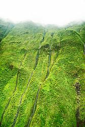 Waterfalls, Mount Wai`ale`ale or Waialeale Crater, Mount Wai`ale`ale summit, the wettest spot on earth with an average of 440 inches of rain per year, Kauai, Hawaii