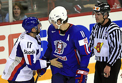 Anze Kopitar of Slovenia vs his teammate Lubomir Visnovsky of Slovakia when Kopitar accidentaly hit him with a stick at ice-hockey game Slovenia vs Slovakia at second game in  Relegation  Round (group G) of IIHF WC 2008 in Halifax, on May 10, 2008 in Metro Center, Halifax, Nova Scotia, Canada. Slovakia won after penalty shots 4:3.  (Photo by Vid Ponikvar / Sportal Images)