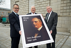 06 March 2018<br /> <br /> John Bruton unveiled a new stamp, marking the centenary of the death of John Redmond, at a symposium on Redmond in the National Gallery of Ireland today (Tuesday).<br /> <br /> Pictured (L-R) David McRedmond, An Post Group CEO, former Taoiseach John Bruton and Maurice Manning, Chancellor of the National University of Ireland.<br /> <br /> Photo: Lensmen