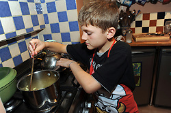 9 year old cooking frying onions UK