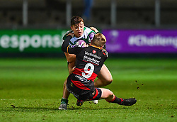 Newcastle Falcons' Adam Radwan is tackled by Dragons' Dan Babos<br /> <br /> Photographer Craig Thomas/Replay Images<br /> <br /> EPCR Champions Cup Round 4 - Newport Gwent Dragons v Newcastle Falcons - Friday 15th December 2017 - Rodney Parade - Newport<br /> <br /> World Copyright © 2017 Replay Images. All rights reserved. info@replayimages.co.uk - www.replayimages.co.uk