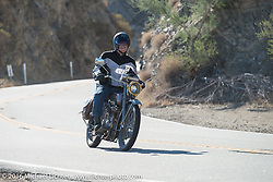 Denis Sharon riding his 1916 Harley-Davidson up the steep mountain pass just out of Palm Desert on the Palms to Pines Scenic Byway on the last day of the Motorcycle Cannonball Race of the Century. Stage-15 ride from Palm Desert, CA to Carlsbad, CA. USA. Sunday September 25, 2016. Photography ©2016 Michael Lichter.