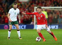 October 9, 2017 - Cardiff City, Walles, United Kingdom - Aaron Ramsey of Wales .during FIFA World Cup group qualifier match between Wales and Republic of Ireland at the Cardiff City Stadium, Cardiff, Wales on 9 October 2017. (Credit Image: © Kieran Galvin/NurPhoto via ZUMA Press)