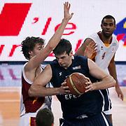 Anadolu Efes's Stanko BARAC (C) during their BEKO Basketball League derby match Galatasaray between Anadolu Efes at the Abdi Ipekci Arena in Istanbul at Turkey on Sunday, November 13 2011. Photo by TURKPIX