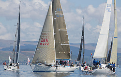 Lights winds dominated the Pelle P Kip Regatta  at Kip Marine weekend of 12/13th May 2018<br /> <br /> Fleet drifting in the tide with GBR8272, Enigma, Howard Morrison, CCC, Sigma 38.<br /> <br /> Images: Marc Turner