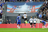 Tottenham's Harry Kane (10) jumps whilst celebrating after he scores his team 1st and equalising goal with team mates Christian Eriksen (23) and Kieran Trippier (16).The Emirates FA Cup semi-final match, Chelsea v Tottenham Hotspur at Wembley Stadium in London on Saturday 22nd April 2017.<br /> pic by Carl Robertson,  Andrew Orchard sports photography.