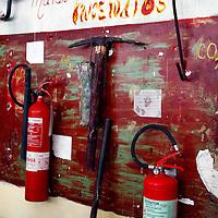Central America, Cuba, Caibarien. Fire Safety Board in Cuban Print Shop.