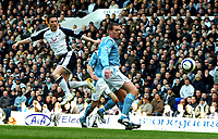 Photo: Ed Godden.<br />Tottenham Hotspur v Manchester City. The Barclays Premiership. 08/04/2006. Robbie Keane shoots for Spurs.