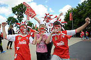 Young Rotherham United supporters before k.o Skybet football league one play off final match , Leyton Orient  v Rotherham Utd at Wembley Stadium in  London on Sunday 25th May 2014.<br /> pic by John Patrick Fletcher, Andrew Orchard sports photography.