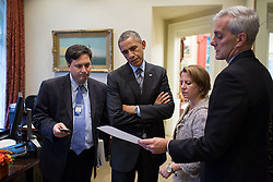 President Barack Obama talks with Ebola Response Coordinator Ron Klain, Lisa Monaco, Assistant to the President for Homeland Security and Counterterrorism, and Chief of Staff Denis McDonough in the Outer Oval Office, Oct. 24, 2014. (Official White House Photo by Pete Souza)<br /> <br /> This official White House photograph is being made available only for publication by news organizations and/or for personal use printing by the subject(s) of the photograph. The photograph may not be manipulated in any way and may not be used in commercial or political materials, advertisements, emails, products, promotions that in any way suggests approval or endorsement of the President, the First Family, or the White House.