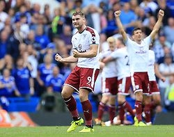 Burnley's Sam Vokes celebrates after the final whistle