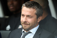 Fulham Manager Slavisa Jokanovic sits in the dugout. EFL Skybet championship match, Fulham v Middlesbrough at Craven Cottage in London on Saturday 23rd September 2017<br /> pic by Steffan Bowen, Andrew Orchard sports photography.