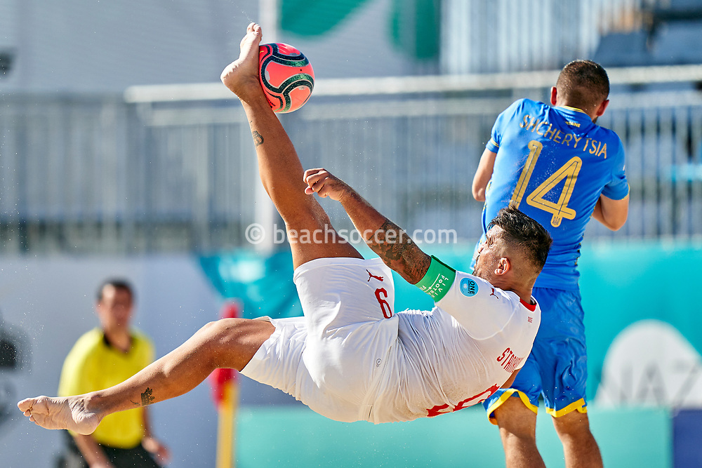 NAZARE, PORTUGAL - SEPTEMBER 4: Dejan Stankovic of Switzerland during day 3 of the Euro Beach Soccer League Superfinal at Estadio do Viveiro on September 4, 2020 in Nazare, Portugal. (Photo by Jose Manuel Alvarez/BSWW)