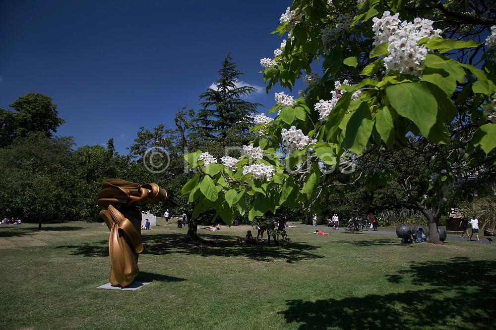 Frieze Sculpture 2017 opens to the public on July 5th 2017 in the English Gardens in Regents Park, London, England, United Kingdom. This is London's largest showcase of major outdoor works by leading artists and galleries, presenting a free outdoor exhibition for London and its international visitors throughout the summer months. Tony Cragg,<br /> Stroke 2014.