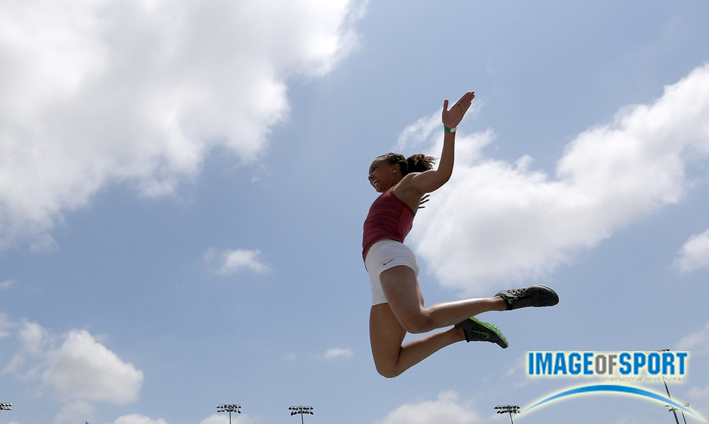 Margaux Jones of Southern California places fourth in the women's long jump at 19-4 1/4 (5.90m) during a collegiate dual meet against UCLA at Drake Stadium in Los Angeles, Sunday, April 29, 2018.