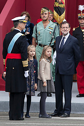 12.10.2015, Madrid, Madrid, ESP, Spanischer Nationalfeiertag, Royals, im Bild King Felipe VI of Spain, Princess Sofia of Spain, Princess Leonor of Spain and President of the Goberment of Spain Mariano Rajoy // during the celebration of the Spanish National Day military parade in Madrid in Madrid, Spain on 2015/10/12. EXPA Pictures © 2015, PhotoCredit: EXPA/ Alterphotos/ Victor Blanco<br /> <br /> *****ATTENTION - OUT of ESP, SUI*****