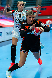 Angela Malestein of Netherlands, Aniko Kovacsics of Hungary in action during the Women's EHF Euro 2020 match between Netherlands and Hungry at Sydbank Arena on december 08, 2020 in Kolding, Denmark (Photo by RHF Agency/Ronald Hoogendoorn)