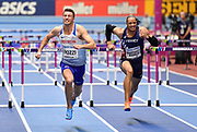 Andrew Pozzi (GBR) left, runs for the line on his way to winning gold in the Mens 60m Hurdles Final in a seasons best time of 7.46 during the final session of the IAAF World Indoor Championships at Arena Birmingham in Birmingham, United Kingdom on Saturday, Mar 2, 2018. (Steve Flynn/Image of Sport)