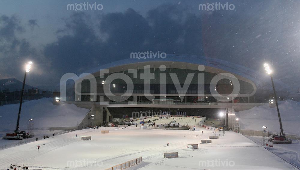 Sapporo , 210207 , Nordische Ski Weltmeisterschaft  Erster Trainingstag im Sapporo - Dome , Uebersicht Sapporo-Dome