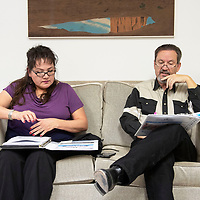 """Verna Begay, left, and Rev. Nathan Lynch, right, reading the Tim Tebow """"Night to Shine"""" planning manual Wednesday, Jan. 9 at New Life Christian Assembly of God Church, in Pine Dale. """"Night to Shine"""" is a prom night for special needs teens and adults and is sponsored by the Tim Tebow Foundation. The church is hosting the program Feb. 8, in Pine Dale."""