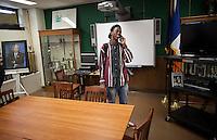 Breaking new Brooklyn rapper, Joey BadA$$ at his High School, Edward R. Murrow High School, in Brooklyn, NY...Photo by Robert Caplin.