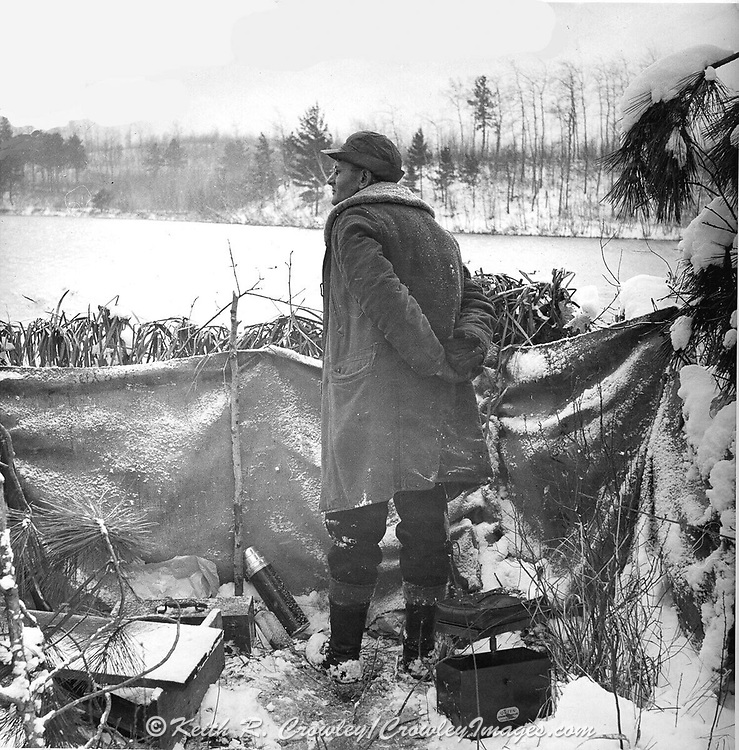 Gordon MacQuarrie friend Pat Tierney during a late season duck hunt at Hole-in-the-Wall, ca. 1942.