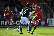 Ollie Palmer (9) of Crawley Town battles for possession with Niall Canavan (6) of Plymouth Argyle during the EFL Sky Bet League 2 match between Plymouth Argyle and Crawley Town at Home Park, Plymouth, England on 28 January 2020.