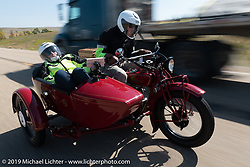 Gene Harper and Jan Carl (navigating from the sidecar) rode their 1924 Indian Chief in the Motorcycle Cannonball coast to coast vintage run. Stage 10 (299 miles) from Sturgis, SD to Billings, MT. Tuesday September 18, 2018. Photography ©2018 Michael Lichter.