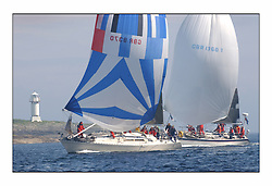 Racing at the Bell Lawrie Yachting Series in Tarbert Loch Fyne. Saturday racing started overcast but lifted throughout the day...GBR 8370, Thornoxon, a first 42 off Skate Light with Avocet GBR GBR1368T close behind..