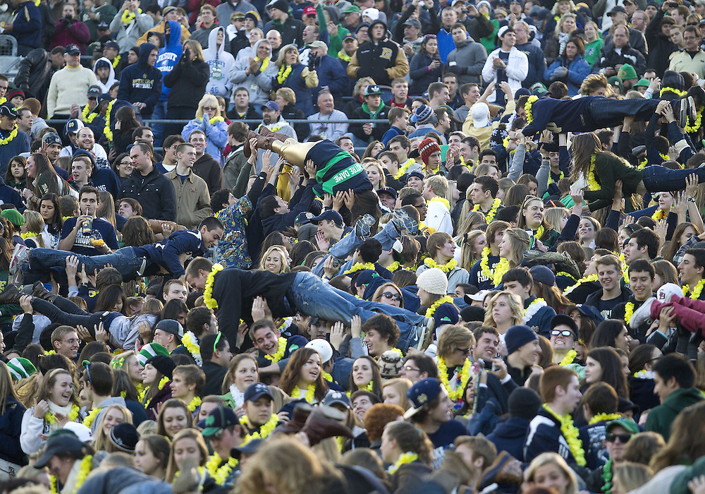 November 17, 2012:  Notre Dame student section celebrates with pushups during NCAA Football game action between the Notre Dame Fighting Irish and the Wake Forest Demon Deacons at Notre Dame Stadium in South Bend, Indiana.  Notre Dame defeated Wake Forest 38-0.