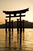 32.2 The Torii at Itsukushima Shrine 鳥居 厳島神社 is one of Japan's best known icons. There has been a torii gate here since 1168, though the current reconstruction dates back to 1875. The torii is built of camphor wood and was built with four legs for additional stability. Since Itsukushima Shrine is built over water, the gate follows the same pattern, as originally the path to the shrine itself was through the ocean gate. The gate only appears to be floating at high tide.