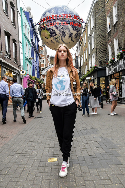 Mary Charteris for  World Ocean Day - Project 0 Ambassadors unveil One Ocean One Planet on Carnaby Street, on 4 June 2019, London, UK.