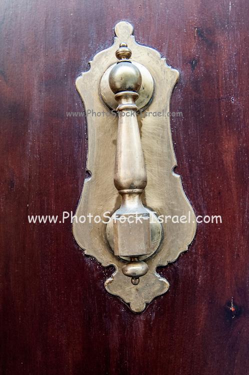 Brass door knocker on a wooden door