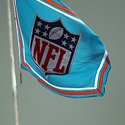 An NFL flag is seen during an NFL football game between the New York Jets and the Miami Dolphins on Sunday, September 23, 2012 at SunLife Stadium in Miami, Florida. (AP Photo/Alex Menendez)