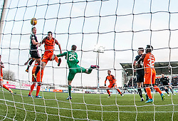 Falkirk's Peter Grant scoring their first goal. Falkirk 6 v 1 Dundee United, Scottish Championship game played 6/1/2018 played at The Falkirk Stadium.