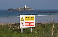 Danger, cliff edge unsafe, warning signs along the cornish coast, Godrevy, Cornwall, England