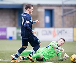 Edinburgh City's Andrew Stobie saves at Forfar Athletic's Danny Denholm. Forfar Athletic 1 v 2 Edinburgh City, Scottish Football League Division Two played 11/3/2017 at Station Park.
