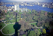 View towards Hotel New York at  Katendrecht, Rotterdam, Netherlands from Euromast, 1971