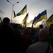 DONETSK, UKRAINE - April 17, 2014: Hundreds of pro-Ukraine protestors rally in support of an unified country, in central Donetsk.