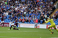 Nathaniel Mendez-Laing of Cardiff city shoots and scores his teams 3rd goal past Villa goalkeeper Samuel Johnstone. EFL Skybet championship match, Cardiff city v Aston Villa at the Cardiff City Stadium in Cardiff, South Wales on Saturday 12th August 2017.<br /> pic by Andrew Orchard, Andrew Orchard sports photography.