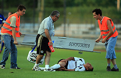 Andrew Cohen of Hibernians injured during 2nd match of 1st round Intertoto Cup soccer match between ND Gorica and Hibernians FC at Sports park, on June 28,2008, in Nova Gorica, Slovenia. (Photo by Vid Ponikvar / Sportal Images)