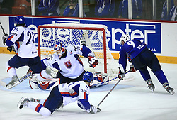 Tomaz Razingar of Slovenia vs Goalkeeper Jan Lasak of Slovakia at ice-hockey game Slovenia vs Slovakia at second game in  Relegation  Round (group G) of IIHF WC 2008 in Halifax, on May 10, 2008 in Metro Center, Halifax, Nova Scotia, Canada. Slovakia won after penalty shots 4:3.  (Photo by Vid Ponikvar / Sportal Images)