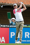 February 16th 2017, Lake Karrinyup Country Club, Perth, Western Australia, Australia; ISPS Handa World Super 6 Perth Golf Tournament Day 1; Robert Dinwiddie (ENG) tees off from the 1st on day one of the ISPS Handa World Super 6 tournament;