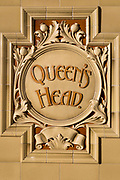 Detail of the Queen's Head pub, on 8th January 2019, in Ramsgate, Kent, England. The Port of Ramsgate has been identified as a 'Brexit Port' by the government of Prime Minister Theresa May, currently negotiating the UK's exit from the EU. Britain's Department of Transport has awarded to an unproven shipping company, Seaborne Freight, to provide run roll-on roll-off ferry services to the road haulage industry between Ostend and the Kent port - in the event of more likely No Deal Brexit. In the EU referendum of 2016, people in Kent voted strongly in favour of leaving the European Union with 59% voting to leave and 41% to remain.