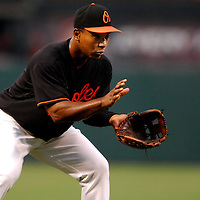 08 June 2007:  Baltimore Orioles third baseman Melvin Mora (6) fields a ground ball in the 3rd inning off the bat of Colorado Rockies catcher Yorvit Torrealba.  The Orioles defeated the Rockies 4-2 in interleague play at Camden Yards in Baltimore, MD.   ****For Editorial Use Only****