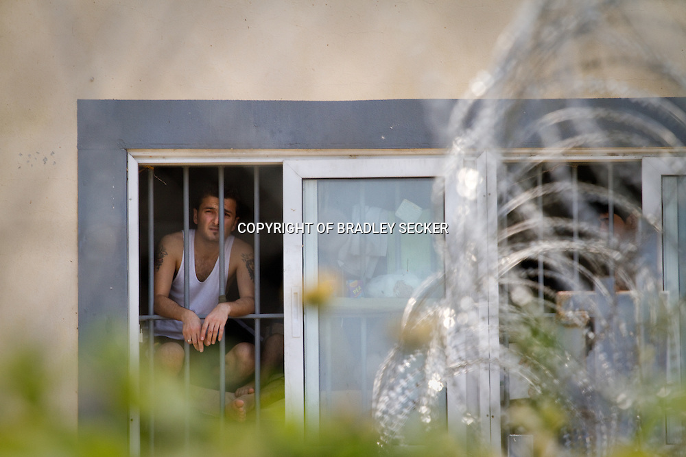 A man from Algeria is detained in Fylakio detention centre, north eastern Greece. Migrants are often arbitrarily detained for months depending on their nationality.