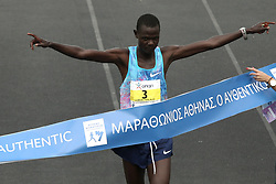 November 12, 2017 - Athens, Attica, Greece - The winner, Samuel Kalalei of Kenya at the finish line of the 35th Athens Classic Marathon, at the Panathenaic stadium in Athens, Greece, on Sunday November 12, 2017  (Credit Image: © Panayotis Tzamaros/NurPhoto via ZUMA Press)