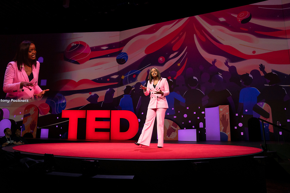 Brittany Packnett speaks at TED2019: Bigger Than Us. April 15 - 19, 2019, Vancouver, BC, Canada. Photo: Bret Hartman / TED