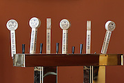 Beer taps in the main drinking area of the Kaskaskia Brewing Company in Red Bud.